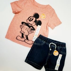 NWT Gender Neutral Mickey Mouse Tee & Denim Shorts